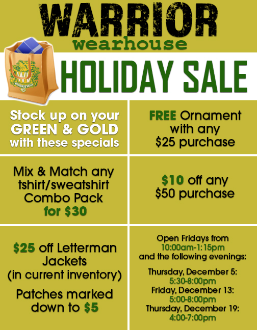 Wvhs News Warrior Wearhouse Holiday Sale
